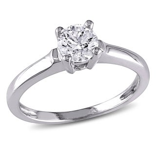 14k White Gold 3/4ct TDW Diamond Solitaire Ring (G-H, I1-I2)