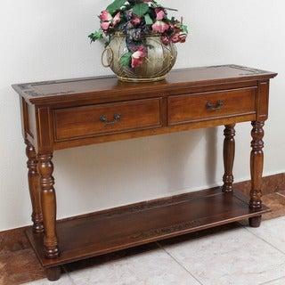 International Caravan Windsor Hand-carved 2-drawer Hardwood Console Table