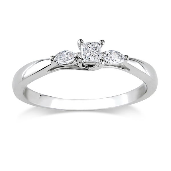 1/4 CT Princess and Marquise Diamonds TW Engagement Ring 10k White Gold GH I2;I3