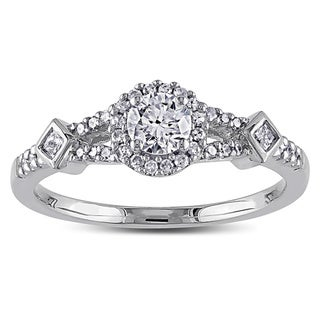 Miadora 14k White Gold 1/2ct TDW IGL-certified Diamond Halo Ring (G-H, I1-I2)