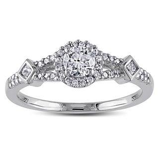 Miadora 14k White Gold 1/2ct TDW IGL-certified Diamond Halo Ring (G-H, I1-I2)