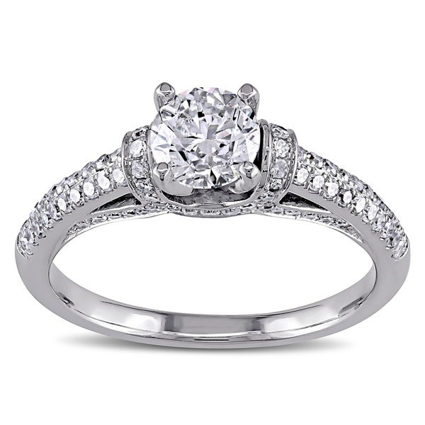 Miadora 14k White Gold 1 1/6ct TDW Diamond Engagement Ring (G-H, I1-I2)