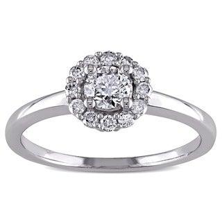 Miadora 14k White Gold 1/2ct TDW Diamond Halo Engagement Ring (H-I, I1-I2)