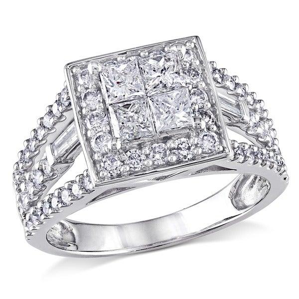Miadora 14k White Gold 1 1/2ct TDW Princess Diamond Ring (H-I, I2-I3)