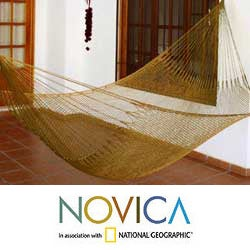 Nylon Hand-crafted 'Summer Sun' Hammock (Mexico)