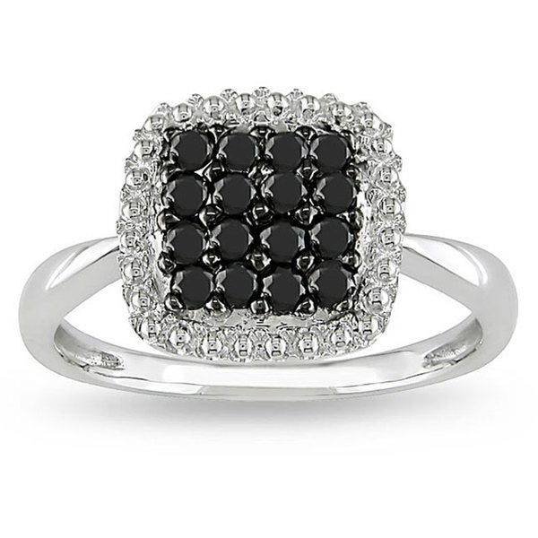 Miadora 10k White Gold 1/2ct TDW Black and White Diamond Halo Ring (H-I, I2-I3)
