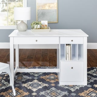 Deluxe White Wood Computer Desk