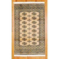 Pakistani Hand-knotted Bokhara Beige/ Black Wool Rug (3' x 5')