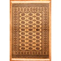 Pakistani Hand-knotted Bokhara Beige/ Black Wool Rug (4' x 6')