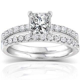 Annello 14k White Gold 1 1/2ct TDW Diamond Princess Cut Bridal Ring Set (H-I, I1-I2) with Bonus Item