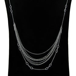 Dolce Giavonna Sterling Silver 18-inch Multi-strand Runway Necklace (1 mm)