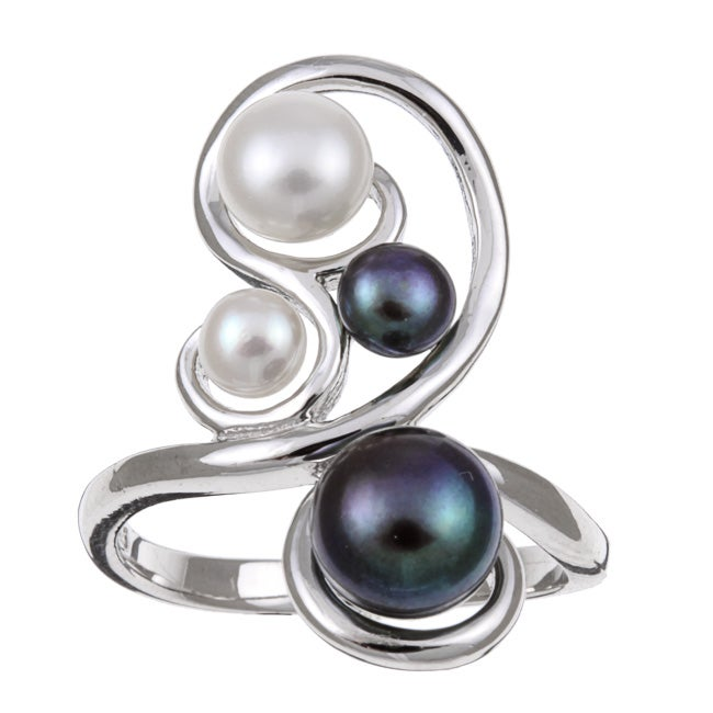Kabella Sterling Silver White and Black Button Freshwater Pearl Ring (7 mm)