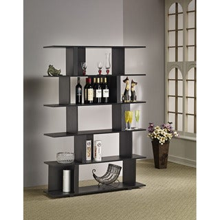 Furniture of America Lian Cinnamon Black Bookcase, Room Divider and Display Shelf