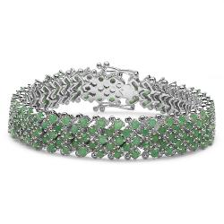 Malaika Sterling Silver Round-cut Emerald 5-row Link Bracelet