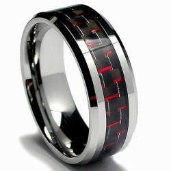 Men's Tungsten Carbide Black and Red Carbon Fiber Inlay Ring (8 mm)