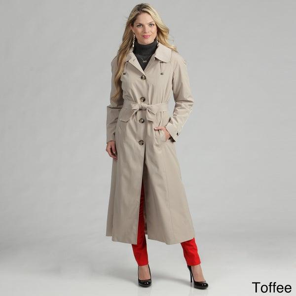 London Fog Women's Single-breasted Belted Rain Coat