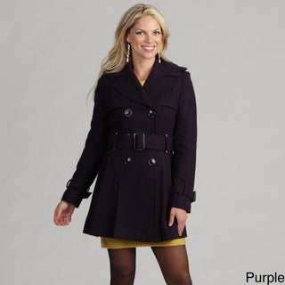 Miss Sixty Women's Belted Wool Pleated Trench Coat