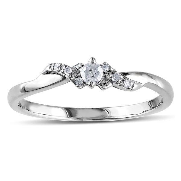 Miadora 10k White Gold 1/10ct Diamond Engagement Ring (H-I, I2-I3)