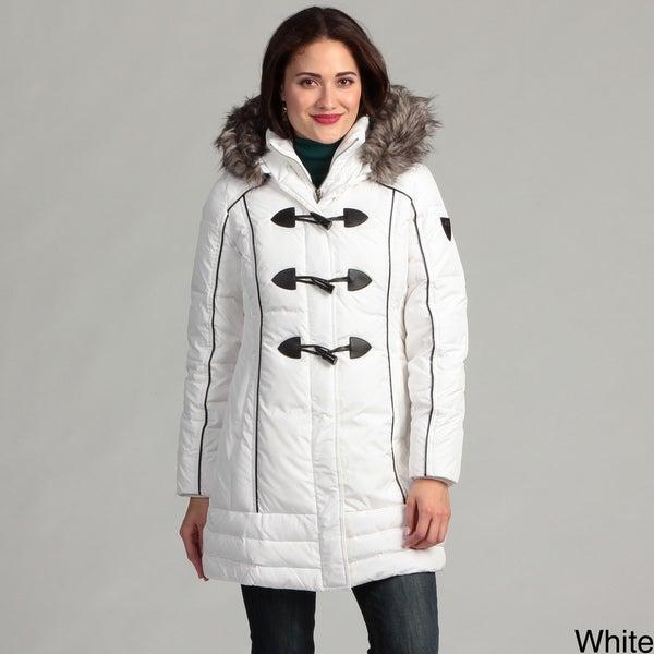 Miss Sixty Women's 3/4-toggle Knit Bibby Faux Fur Hooded Coat