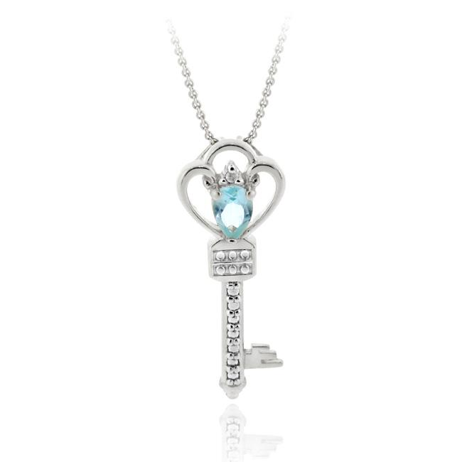 Glitzy Rocks Sterling Silver Blue Topaz and Diamond Accent Key Necklace