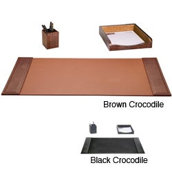 Dacasso 3-piece Crocodile Embossed Leather Desk Set