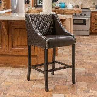 Christopher Knight Home Milano Brown Quilted Bonded Leather Bar Stool