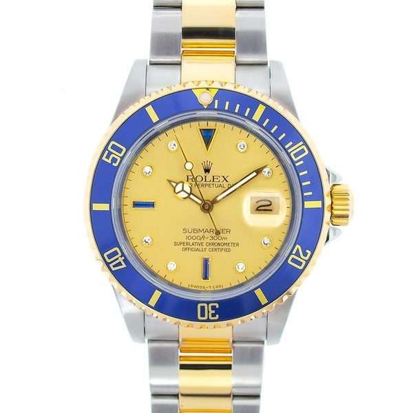 Pre-Owned Rolex 16613 Men's Submariner Two-tone Steel Serti Gold Dial Watch