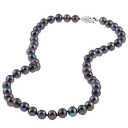 DaVonna Silver Black FW Pearl 16-inch Necklace (6.5-7 mm)