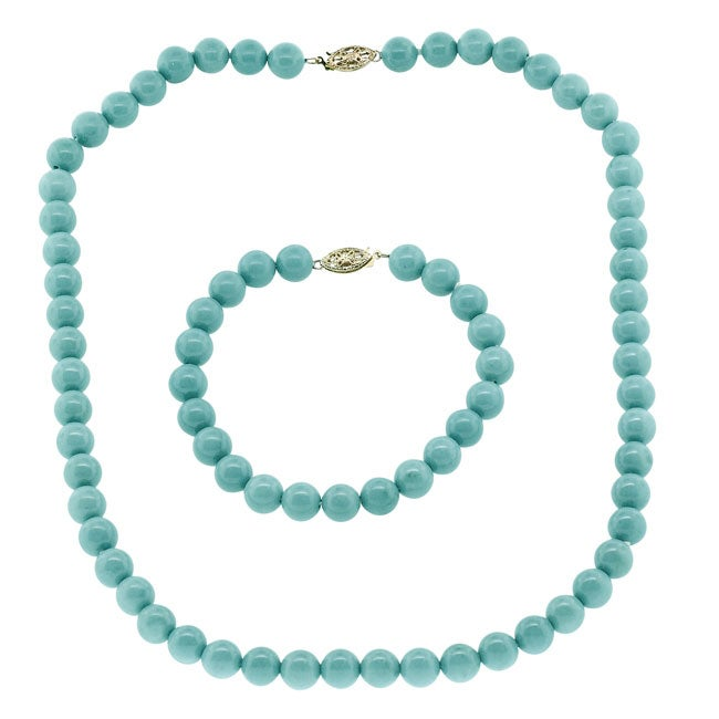 Magnesite and Turquoise Bracelet and Necklace Jewelry Set Overstock Shoppin