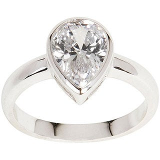 NEXTE Jewelry Silvertone Pear-cut Clear Cubic Zirconia Solitaire Ring