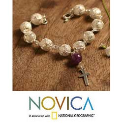 Silver Filigree 'My Prayer' Amethyst Bracelet (Peru)