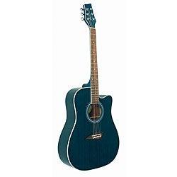 Kona Acoustic Blue Dreadnought Cut-away Acoustic Guitar