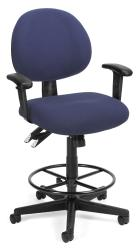 OFM 24-hour Task Stool with Arms and Drafting Kit