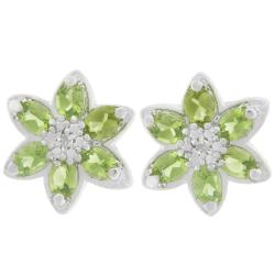 Sterling Silver Oval-cut Peridot and Diamond Accent Flower Earrings