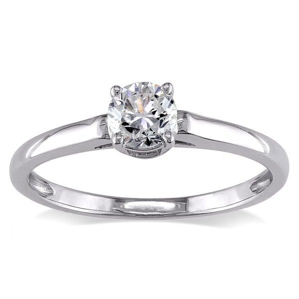 Miadora 14k White Gold 1/2ct TDW Diamond Solitaire Engagement Ring (H-I, I2-I3)