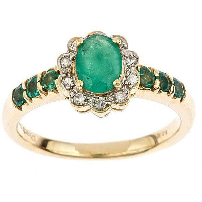 Anika And August 14k Yellow Gold Emerald And 1/10ct TDW