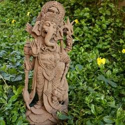 Resin 20-inch Standing Ganesha Garden Accent (Indonesia)