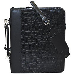 Buxton Unisex Croc-embossed Leather Cal-Q Zip-around Fashion Folio