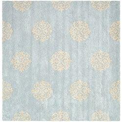 Safavieh Handmade Soho Medallion Light Blue N. Z. Wool Rug (8' Square)