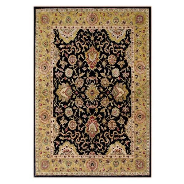 Alliyah Handmade Moon Indigo, Olive Green, Chino Green, Mustard Gold, and Black New Zealand Blend Wool Rug (10' x 14')