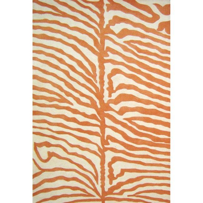 Alliyah Handmade Orange New Zealand Blend Wool Rug (6' Square)