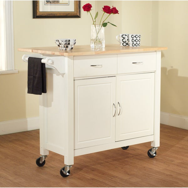 Simple Living White Mobile Kitchen Cart