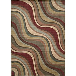 Nourison Summerfield Waves Beige Geometric Rug (7'9 x 10'10)
