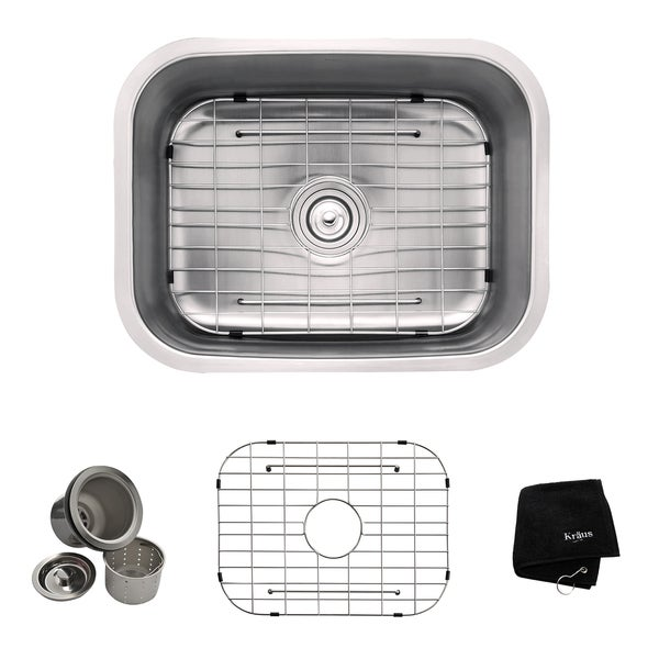 Kraus Undermount Single Bowl Steel Kitchen Sink with Grid