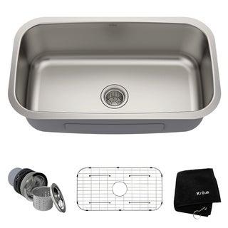 Kraus 31.5-inch Undermount Single Bowl Steel Kitchen Sink