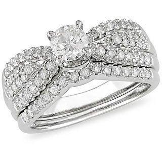 Miadora 14k White Gold 1ct TDW Diamond Bridal Set (H-I, I1-I2)