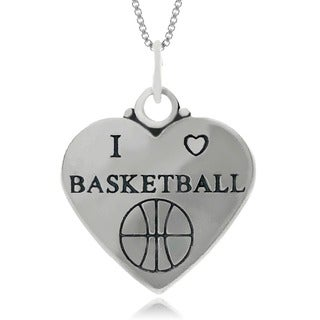 Journee Collection Sterling Silver 'I Love Basketball' Heart Necklace