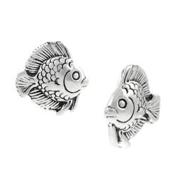 Journee Collection  Sterling Silver Fish Stud Earrings