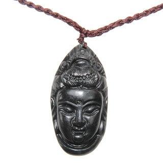 Jade Buddha Head pendant with Necklace (China)