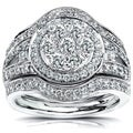 Annello 14k Gold 1 1/8ct TDW Diamond Halo Bridal Ring Set (G-H, I1-I2) with Bonus Item